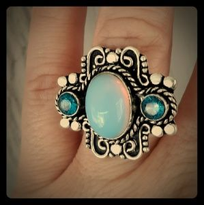 New Opalite and Blue Topaz Silver Ring. Size 8